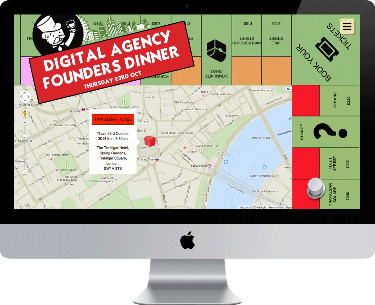 The Digital Agency Founders Dinner website layout
